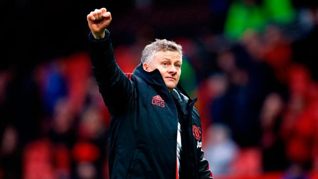 Manchester United's interim manager Ole Gunnar Solskjaer celebrates victory after the Emirates FA Cup, third round match at Old Trafford, Manchester. Saturday January 5, 2019. Martin Rickett/PA Wire.