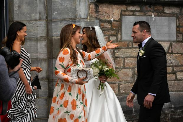 Laura Smith and Cian Healy greet guests at their wedding in Galway. Picture: Andy Newman