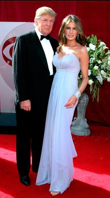 Donald (L) and Melania Trump arrive at the 57th Annual Emmy Awards held at the Shrine Auditorium on September 18, 2005 in Los Angeles, California.  (Photo by Kevin Winter/Getty Images)