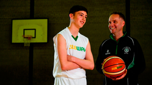 18 October 2018; CJ Fulton with his father Adrian took to the court today to kick start the 2018-2019 Subway® All Ireland Schools Cup. A competition that sees over 5,000 players from over 300 schools across the country take part. St. Malachys Secondary school, Belfast, Co Antrim. Photo by David Fitzgerald/Sportsfile