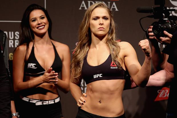 UFC Strawweight Champion Ronda Rousey on July 31, 2015 in Rio de Janeiro, Brazil. (Photo by Matthew Stockman/Getty Images)