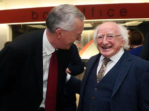 President Michael D Higgins (right) with Hilary Benn, Chairman of the UK House of Commons Committee on Exiting the EU (Brian Lawless/PA)