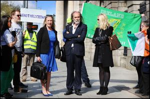 Objection: Gemma O'Doherty, John Waters and his wife Rita Simons outside the High Court in Dublin during the hearing last week. Photo: Steve Humphreys