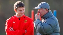 Ole Gunnar Solskjaer here listening to words of advice from former Manchester United boss Alex Ferguson on the training ground in 2007