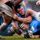 18 January 2020; James Tracy with the support of his Leinster team-mate James Ryan during the Heineken Champions Cup Pool 1 Round 6 match between Benetton and Leinster at the Stadio Comunale di Monigo in Treviso, Italy. Photo by Ramsey Cardy/Sportsfile