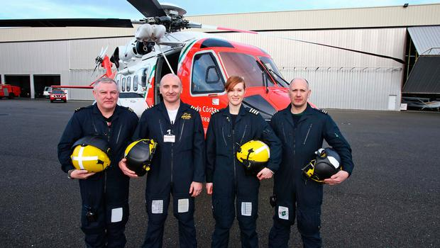 The crew of the new Coast Guard Sikorsky S92 helicopter for the East Coast region at the launch of the new helicopter at Weston Airport this morning..The crew are from left, Winch Operator, Paul Ormsby, Capt. Ed Sullivan, Capt. Dara Fitzpatrick and Winchman Dermot Molloy....Picture Colin Keegan, Collins Dublin.