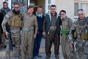 William and Craig pictured with members of the Peshmerga military force.