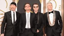 (L-R) Musicians The Edge, Bono, Larry Mullen Jr. and Adam Clayton of U2 (Photo by Jason Merritt/Getty Images)