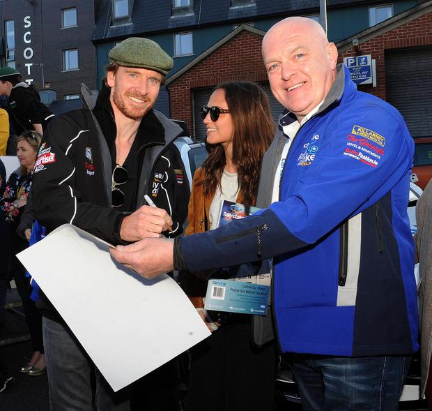 Fassbender with wife Alicia Vikander and Dermot Healy. Pic: Eamonn Keogh
