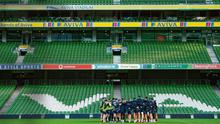 Ireland pictured training at an empty Aviva stadium before Covid-19 lockdown restrictions brought the season to a halt. Photo: Ramsey Cardy/Sportsfile