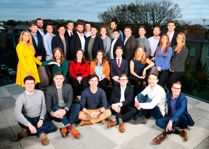 The Sunday Independent's 30 Under 30 photographed on the rooftop terrace of the Devlin Hotel in Ranelagh. (L-R) STANDING: Pamela Laird, Conor Lyden, Finlay Dargan, Arthur Pierse, Jack Kirwan, Emmet Nolan, Simon Hillary, Chris Kelly, Theo Kirwan, Louise Egan, Hugh Doyle, Alan Farrelly, Adam Dalton, Charlie Byrne, Martin O'Reilly, Malindi Demery, Pierce Dargan, Elena Demery. COUCH: Matthew McCann, Jess Kavanagh, Emma Walker, Eoin O'Brien, Anika Riley. SEATED: Daniel Loftus, Shane Ennis, Conall Laverty, Fionn Barron, Robbie Skuse, Evan Darcy. (Picture by David Conachy)