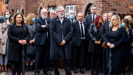 Mary Lou McDonald and Gerry Adams at Bobby Storey's funeral. Photo: Liam McBurney/PA Wire