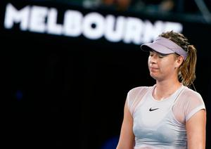 Tennis - Australian Open - Rod Laver Arena, Melbourne, Australia, January 20, 2018. Maria Sharapova of Russia reacts during her match against Angelique Kerber of Germany. REUTERS/Thomas Peter