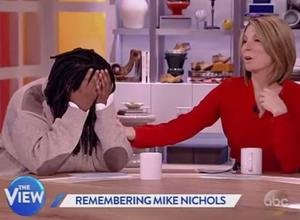 The actress had to be consoled by her co-hosts on the US daytime talk show after she became overwhelmed by emotion during a tribute