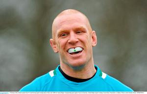 9 February 2012; Ireland captain Paul O'Connell during squad training ahead of their side's RBS Six Nations Rugby Championship game against France on Saturday. Ireland Rugby Squad Training, Carton House, Maynooth, Co. Kildare. Picture credit: Brendan Moran / SPORTSFILE