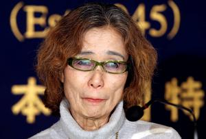 Junko Ishido, mother of Japanese journalist Keni Goto taken hostage by Islamic State, speaks during a press conference in Tokyo, Friday. Goto's mother said her son went to Syria to try to secure a friend's release, corroborating comments by others who said he was trying to rescue Yukawa, who was taken hostage earlier. The deadline for paying ransom for two Japanese hostages held by the Islamic State group was fast approaching early Friday with no signs of a breakthrough (AP Photo/Koji Sasahara)