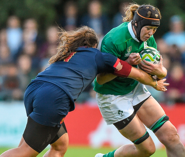 Marie Louise Reilly of Ireland is tackled by Annaelle Deshaye of France. Photo: Sportsfile