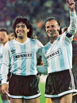 Striker Diego Maradona with then-president Carlos Menem before a charity football match in Argentina in 1989