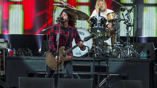 Dave Grohl and Taylor Hawkins of Foo Fighters at Slane Castle yesterdayPhoto: Arthur Carron