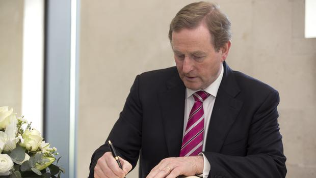Taoiseach Enda Kenny who signed a Book of Condolence for the victims of the Westminster attacks in London on Wednesday.  Pic:Mark Condren 24.3.2017