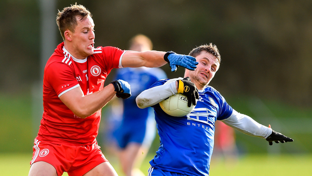 Dermot Malone of Monaghan in action against Kieran McGeary of Tyrone. Photo by Oliver McVeigh/Sportsfile
