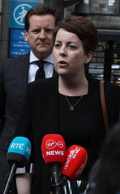 3/5/2019 Ruth Morrissey pictured speaking to the media on leaving the Four Courts after a High Court judgement .Pic: Collins Courts