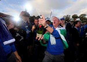 Europe's Jamie Donaldson celebrates after winning the Ryder Cup on day three of the 40th Ryder Cup at Gleneagles Golf Course, Perthshire. PRESS ASSOCIATION Photo. Picture date: Sunday September 28, 2014. Photo credit should read: David Davies/PA Wire. RESTRICTIONS: Use subject to restrictions. Editorial use only. No commercial use. Call +44 (0)1158 447447 for further information.