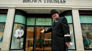Concierge at Brown Thomas department Store Shane Murphy following its reopening Photo: Gareth Chaney/Collins