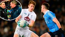 Kevin Feely of Kildare in action against Brian Fenton and (inset) Cian O'Neill and Jim Gavin after the match