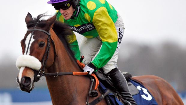 Jockey Tony McCoy on Kauto Star goes to post in the William Hill King George VI Steeple Chase at Kempton