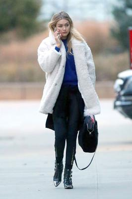 When she went full on Dr Zhivago in this faux fur white coat.