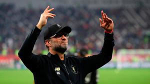 DOHA, QATAR - DECEMBER 21: Jurgen Klopp, Manager of Liverpool acknowledges fans after winning the FIFA Club World Cup Qatar 2019 Final between Liverpool FC and CR Flamengo at Education City Stadium on December 21, 2019 in Doha, Qatar. (Photo by Francois Nel/Getty Images)
