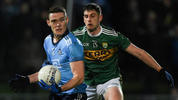 TIGHT MARGIN: Dublin's Brian Fenton is chased by Kerry's Paul Geaney during last year's Allianz Football League Division 1 opener in Tralee. Photo: Diarmuid Greene/Sportsfile