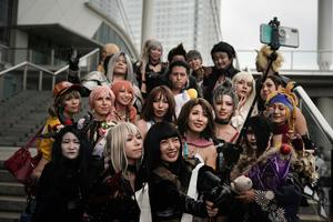 A group of cosplayers take a selfie at the Tokyo Game Show last Saturday in Chiba, near Tokyo last Saturday.