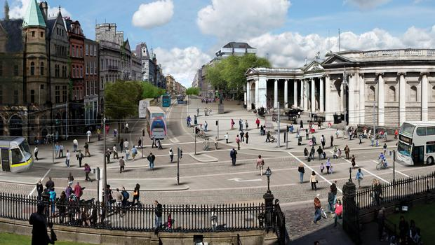 Artist's impression of how Dublin's College Green will look after it is given over to pedestrians and public transport