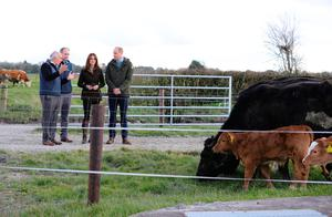 The Duke and Duchess of Cambridge during a visit to the Teagasc Animal & Grassland Research Centre at Grange, in County Meath. photo: Aaron Chown/PA Wire