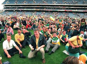 Offaly supporters make their feelings known with a sit-down protest in the minutes that followed. Photo: Sportsfile