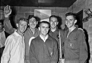 NIGHT TO REMEMBER: For the first time in history five men had ran sub-four-minute miles in the same race in August 1958 at Morton Stadium, Santry. (From l-r) Murray Halberg of New Zealand; Ronnie Delany, Ireland, the 1500m Olympic champion; Albie Thomas, the world three-mile record holder; Herb Elliott, the Commonwealth 1,500 metre champion and the 'World's Best Miler' and Merv Lincoln, both from Australia. The finishing times were Herb Elliott 1st 3:54.5 (WR), Merv Lincoln 2nd 3:55.9, Ronnie Delany 3rd 3:57.5, Murray Halberg 4th 3:57.5, Albie Thomas 5th 3:58.6. Photo: Connolly Collection/SPORTSFILE
