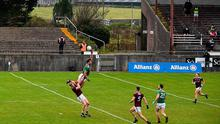 Aidan O'Shea of Mayo climbs above Séan Andy Ó Ceallaigh of Galway during the Allianz Football League Division 1 at Tuam Stadium. Photo by Ramsey Cardy/Sportsfile