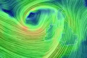 This image shows Storm Rachel bearing down on Ireland from the Atlantic. Photo: earth.nullschool.net