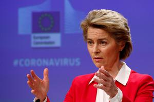 Moves: European Commission President Ursula von der Leyen at a conference on the Covid-19 outbreak. Photo: AP