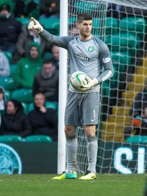 Celtic goalkeeper Fraser Forster on way to breaking Celtic record of clean sheets during the Scottish Premier League match at Celtic Park, Glasgow.