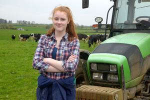 Learnign curve: Sadhbh O'Connor, a fifth year student at Bandon Grammar School, is being kept busy on the family farm in Upton, Co Cork where she has been helping out with the vaccinating, grass meassuring and milking the cows during the school closur.e Photo: Denis Boyle