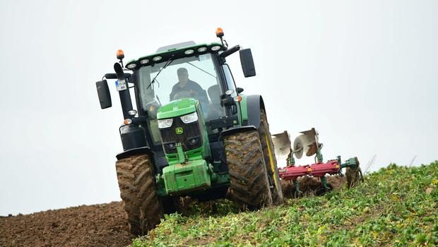 Brendan O Loughlin ploughing for Brennan  Contractors Leighlinbridge. Photographed here ploughing in the beet tops for farmer Eamonn Mc Grath Goresbridge on the second day of the new Year 2019. photo Roger Jones.