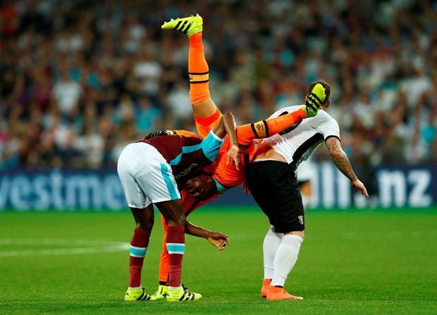 West Ham and Ireland goalkeeper Darren Randolph goes head over heels during last night's defeat against Astra. Photo: Reuters