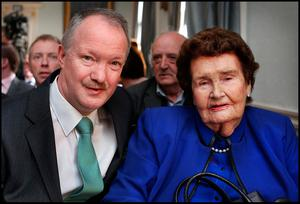 The late Maureen Haughey with one of their sons, Deputy Seán Haughey Picture: Steve Humphreys