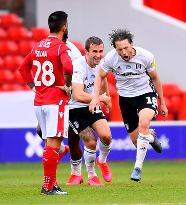 Harry Arter celebrates what proved to be the winning goal for Fulham against Nottingham Forest