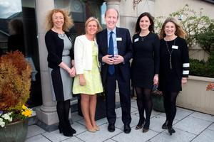 Independent Allience candidates Cllr Marie Casserly, Cllr Ann Norton, Shane Ross TD, Cllr Deirdre O'Donovan, and Carol Hunt at the launch of the Independent Alliance at the Bridge House Hotel, Tullamore. Photo: Tony Gavin