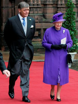 The Duke of Westminster and Queen Elizabeth II leaving Chester Cathedral following the wedding of Lady Tamara Grosvenor and Edwin van Cutsem