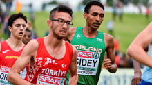 Efrem Gidey of Ireland, centre, competing in the Men's U20 event during the European Cross Country Championships. Photo by Sam Barnes/Sportsfile